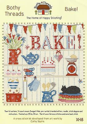 BOTHY THREADS BAKE COUNTED CROSS STITCH KIT CAKES KITCHEN - NEW 25x25cm XH8