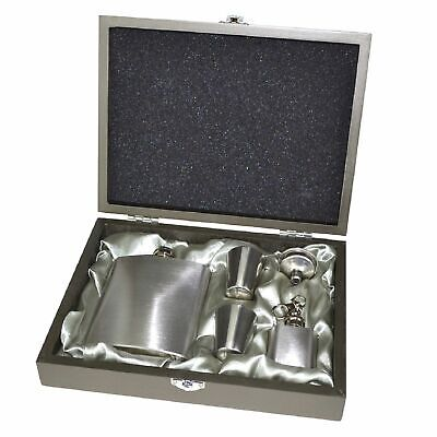 HIP FLASK GIFT BOXED SET - Stainless Steel Pocket Liquor Hipflask Case Alcohol