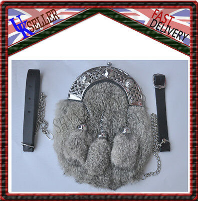 Deluxe Scottish Full Dress Sporran Grey Rabbit Fur & Chrome Celtic Cantle