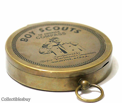 Antique Vintage American Boy Scouts Compass Solid Brass Nautical Pocket Gift