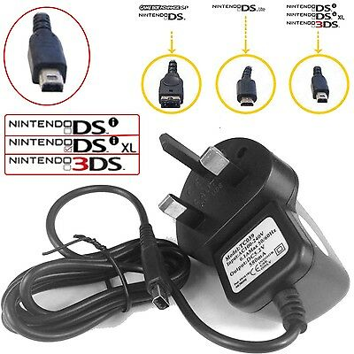 NEW CE APPROVED UK 3 PIN Mains Charger For Nintendo DSi, NDSi & DSi XL
