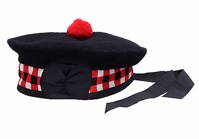 100% Pure Wool Scottish Balmoral Diced Hat Red,White & Black Balmoral Hat