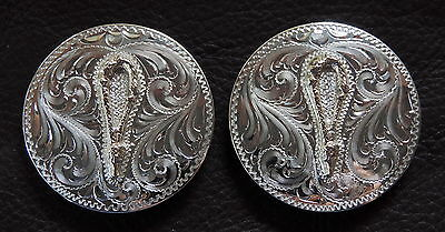"""2 - 1 3/4"""" Diablo Sterling Silver Overlay Conchos with Jewelers Bronze Bosal"""