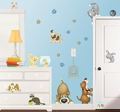 23 New AT THE PET SHOP WALL DECALS Puppies Kittens Dogs Cats Stickers Kids Decor