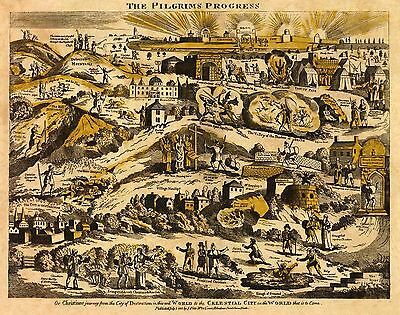 Old, Vintage Pilgrims Progress Poster Map - 1813 repro