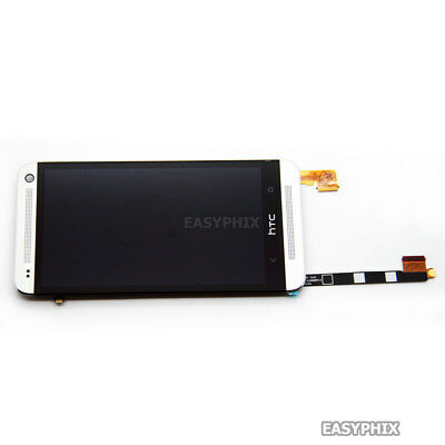 Silver LCD Digitizer Touch Screen Replacement Assembly + Frame For HTC One M7