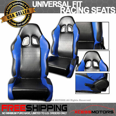 Pair Of RS-Type PVC Leather Racing Seats Black Blue Chevrolet