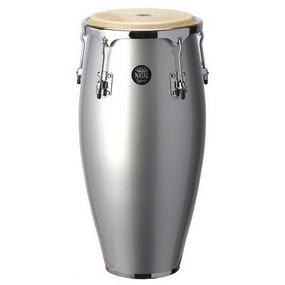 NATAL 10'' & 11'' Congas w/ Basket Stands Metallic Silver Quinto e Conga - Wood