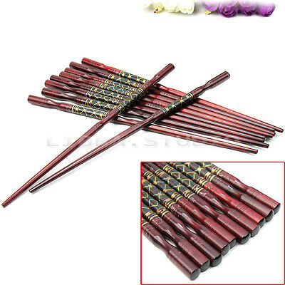5 pairs Reusable Vintage Chinese Wood Carved Chopsticks Kitchen Cutlery Gift