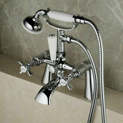 Grand Traditional Victorian Cross Head Lever Bath Filler Shower Mixer Chrome Tap