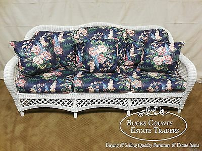 Lexington Henry Link White Wicker Long Sofa Couch