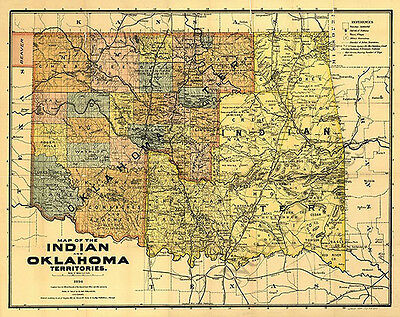 Map of the Indian and Oklahoma territories c1894 repro 31x24