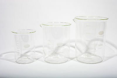 Laboratory Borosilicate Glass Measuring Beaker Set 1000;2000;3000Ml - 1 Of Each
