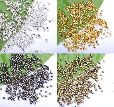 1000Pcs GOLD/SILVER Plated,COPPER,BLACK,Tube Crimp End Spacer BEADS 1.5MM 2.0MM