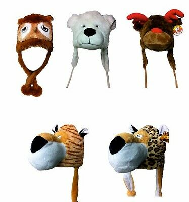 Tiger, Owl, Reindeer or Polar Bear Novelty Animal Hat