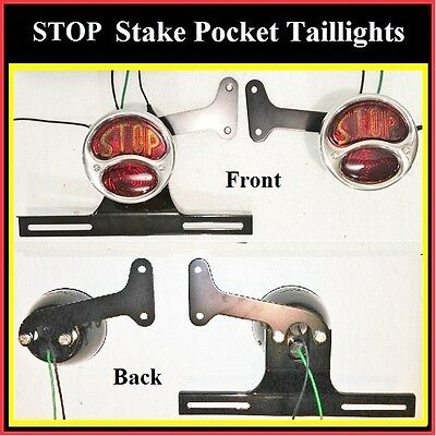 STOP Stake Pocket Taillights w/ Plate Bracket Black Painted Stepside Truck