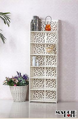 New White Hollow Carved Kitchen Bathroom Storage shoes Rack book shelves 12040
