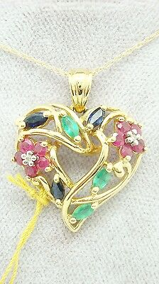 10K Gold Heart Pendant w/Genuine Sapphires, Emeralds, Rubies & Diamonds (#C2426)