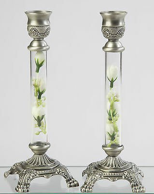 Shabbos Candlesticks Shabbat Candle Holders for Sabbath Candles Pewter w/ Roses