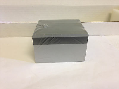 100 Silver PVC Cards - HiCo Mag Stripe 3 Track - CR80 .30 Mil for ID Printers