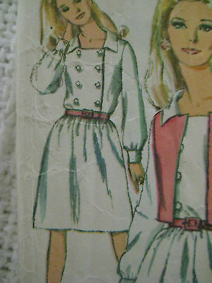 Vintage Simplicity 6909 DOUBLE BREASTED BODICE DRESS Sewing Pattern Women Sz 14
