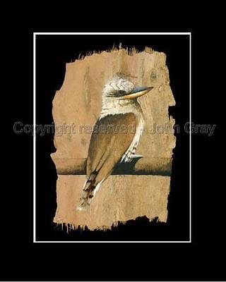 Laughing Kookaburra  Print - Bark Art. Signed By Artist  Corporate Gifts !!
