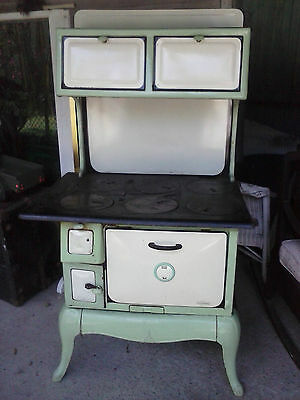 Antique ENTERPRISE Wood STOVE.Cook,Laundry stove green & cream porcelain works.
