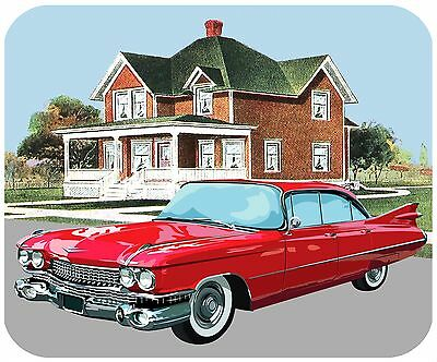 Mouse Pad Custom Thick Mousepad-1959 Cadillac Coupe Deville With Vintage House