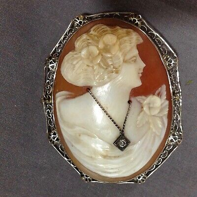 Vintage Edwardian 14K White Gold Shell Cameo Antique Brooch Pin Diamond Necklace