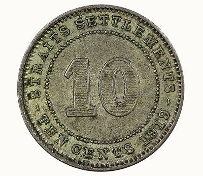 Straits Settlements 1919 10 Cent Coin CHOICE UNC