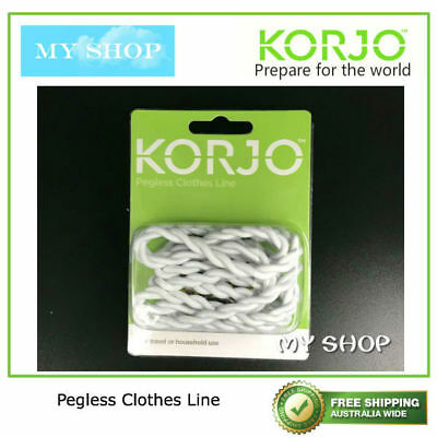 Korjo Pegless Clothes Line Rope --Good For Travel, Camping