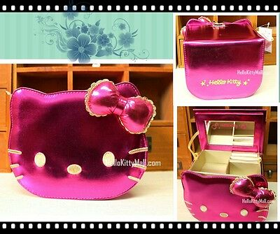 Newest Rose Glossy Hello Kitty Double Vanity Case Women Makeup Bags Storage Box