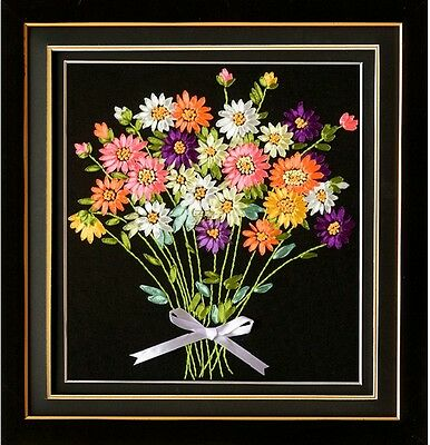 Ribbon Embroidery Kit Bunch of flowers 45x45cm RE1001