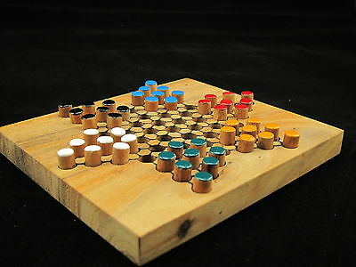"Chinese Checkers, wooden travel board game 5.2""x 4.53"""