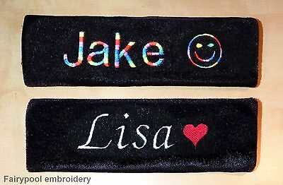 2 x Black Personalised Embroidered Seat Belt Covers Pads