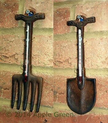 Cast Iron Garden Spade Fork Outdoor Thermometer Wall Hanging Patio Ornament New