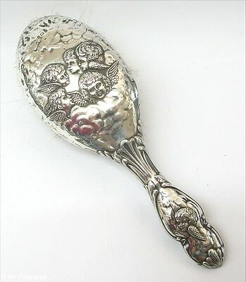 Sterling Silver Putti Hair Brush Antique Cherubs Ridley Brothers Merton Angel