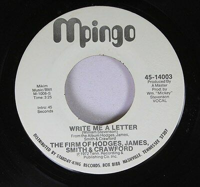 """Soul Promo Nm! 45 The Firm Of Hodges, James, Smith & Crawford - Write Me A 7"""" 5"""
