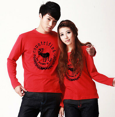 Fashion Deer Lovers Couple T-shirt Lycra Cotton Flexible Thick Women Men Y2123