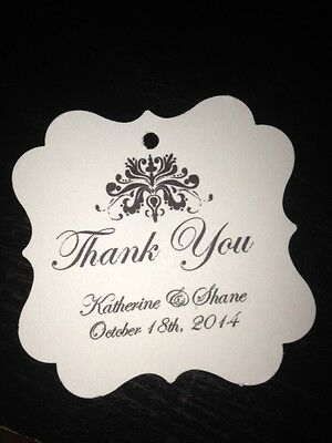 Wedding Favor Tags Elegant Damask Personalized Thank You Favor Tag