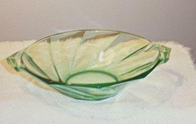 """HEISEY  #1252 TWIST MOONGLEAM 6""""  TWO HANDLED JELLY  MARKED H"""