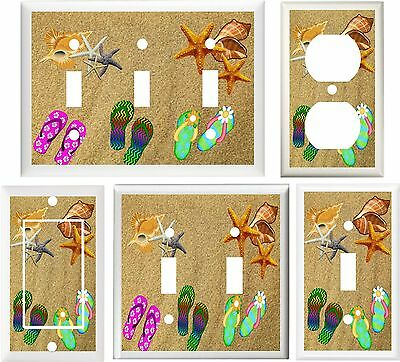fc07e2df13266d Flip Flops Seashells On Beach Sand Home Decor Switch Or Outlet Cover V664