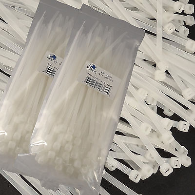 New White 200 Pcs. 7 Inch Zip Ties Nylon 50 Lbs Uv Weather Resistant Wire Cable