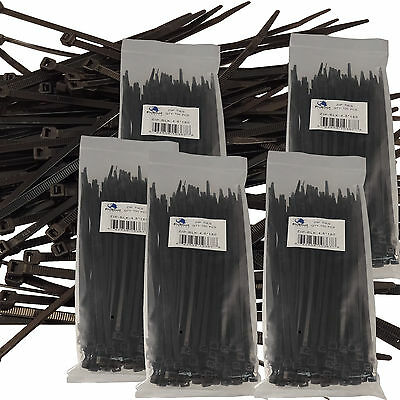 New Black 500 Pcs. 7 Inch Zip Ties Nylon 50 Lbs Uv Weather Resistant Wire Cable