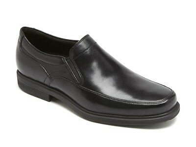 Rockport Men's Black Leather Style Tip Double Gore Slip-On Oxford A10716