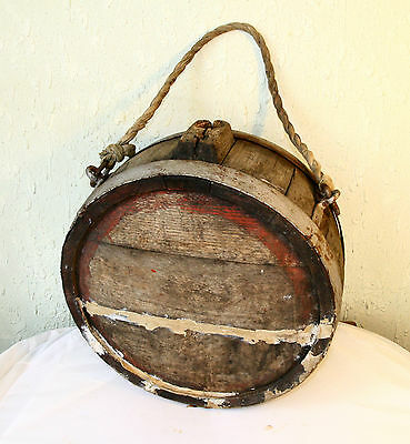 ANTIQUE 19`c PRIMITIVE Hand Made Wooden IRON BANDED CANTEEN FLASK Alcohol KEG #4
