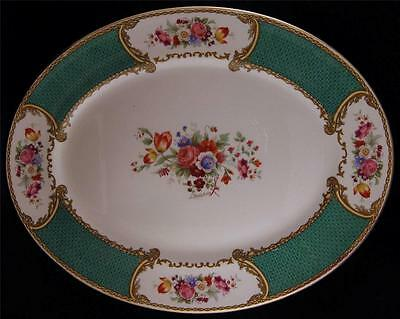 Myott Staffordshire THE BOUQUET Green Round LARGE OVAL TURKEY PLATTER 14.75""