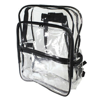 Clear Transparent School Book Bag Security Safety Backpack Shoulder Travel TSA