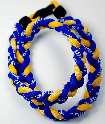 "Wholesale Lot of 13 Titanium Tornado Sports Necklaces 20"" Royal Blue Yellow"
