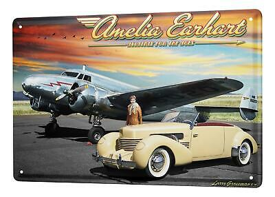 Tin Sign Airplane Airport  Classic car airplane pilot  Wall Vintage Decoration